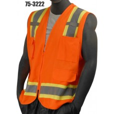 Hi-Vis Orange Heavy Duty Surveryor's Vest. ANSI / ISEA 107-2010 Class 2 compliant. Material: 100% Polyester, Solid front and back
