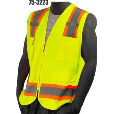 Hi-Vis Yellow Heavy Duty Surveryor's Vest. ANSI / ISEA 107-2010 Class 2 compliant. Solid Front, Mesh Back