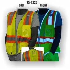 Yellow Two-tone High Visibility Class 2 D-ring Pass Thru Vest
