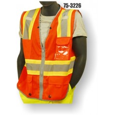 Orange Two-tone High Visibility Class 2 D-ring Pass Thru Vest