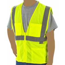 Yellow Class 2, Mesh Fabric Vest, Two Large Chest Pockets, Silver Reflective Striping, Zipper Closure