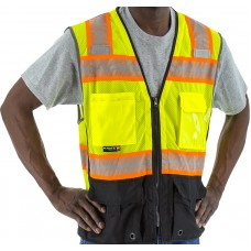 Yellow High Visibility Mesh Vest with DOT Reflective Chainsaw-type Striping, ANSI 2