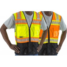 Orange High Visibility Mesh Vest with DOT Reflective Chainsaw Striping, ANSI 2