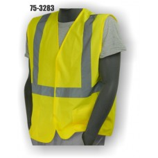 Hi-Vis Yellow ASTM D6413 FR Vest, ANSI / ISEA 107-2010 Class 2 compliant. Material: 100% Polyester. Sizes: M-5X