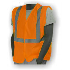 Hi-Vis Orange ASTM D6413 FR Vest, ANSI / ISEA 107-2010 Class 2 compliant. Material: 100% Polyester. Sizes: M-5X