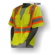 Mesh Vest, Zipper, High Visibility, Clear ID Pocket, Yellow