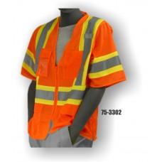 Mesh Vest, Zipper, High Visibility, Orange