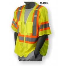 Hi-Vis Yellow Vest, 5 Point Breakaway, ANSI / ISEA 107-2010 Class 3 compliant. Material: 100% Polyester. Sizes: M-5X