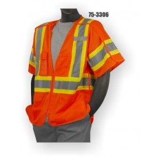 Hi-Vis Orange Vest, 5 Point Breakaway, ANSI / ISEA 107-2010 Class 3 compliant. Material: 100% Polyester. Sizes: M-5X