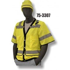 Hi-Vis Yellow Heavy Duty Vest, Document Pocket On The Back Of The Vest, ANSI / ISEA 107-2010
