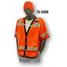 Hi-Vis Orange Heavy Duty Vest, ANSI / ISEA 107-2010 Class 3 compliant