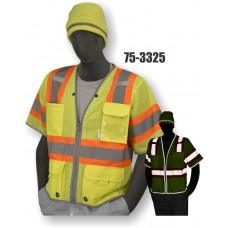 Mesh Vest, High Visibility Yellow, Class 3, Clear Pocket, Dot Striping, Reflective Trim, D-ring Pass Thru