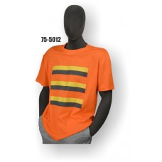 Premium Birdseye Eye Material, Short Sleeve T-Shirt, 100% Polyester, Non-ANSI, Contrasting Stripes, Yellow