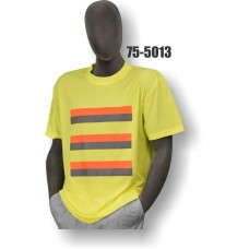 50/50 Cotton/Poly, Short Sleeve T-Shirt, Non-ANSI, Contrasting Stripes Yellow