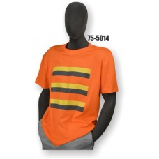 50/50 Cotton/Poly, Short Sleeve T-Shirt, Non-ANSI, Contrasting Stripes Orange