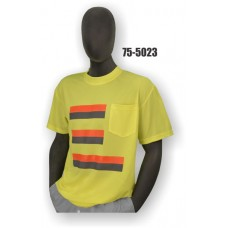 50/50 Cotton/Poly, Short Sleeve T-Shirt, Chest Pocket, Non-ANSI, Contrasting Stripes Yellow