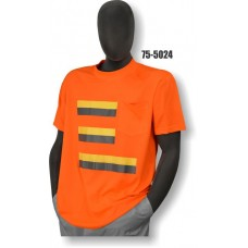 50/50 Cotton/Poly, Short Sleeve T-Shirt, Chest Pocket, Non-ANSI, Contrasting Stripes Orange