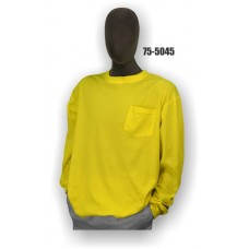 Premium Birdseye Eye Material, Long Sleeve T-Shirt, Chest Pocket, 100% Polyester, Non-ANSI, Yellow