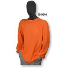 Premium Birdseye Eye Material, Long Sleeve T-Shirt, Chest Pocket, 100% Polyester, Non-ANSI, Orange