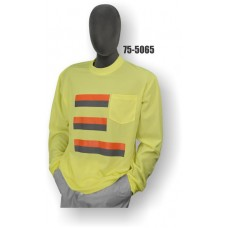 Premium Birdseye Eye Material, Long Sleeve T-Shirt, 100% Polyester, Non-ANSI, Contrasting Stripes, Yellow
