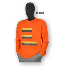 Premium Birdseye Eye Material, Long Sleeve T-Shirt, 100% Polyester, Non-ANSI, Contrasting Stripes, Orange