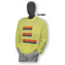 50/50 Cotton/Poly, Long Sleeve T-Shirt, Chest Pocket, Non-ANSI, Contrasting Stripes Yellow
