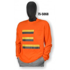 50/50 Cotton/Poly, Long Sleeve T-Shirt, Chest Pocket, Non-ANSI, Contrasting Stripes Orange