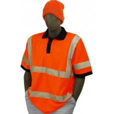 Hi-Vis Orange Polo T-Shirt. Double Stripe. ANSI / ISEA 107-2010 Class 2 compliant. Material: 100% Polyester. Sizes: S-M