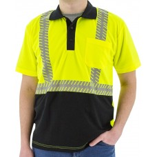 Yellow High Visibility Short Sleeve Polo with Reflective Chainsaw Striping, ANSI 2