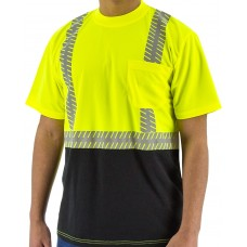 High Visibility Short Sleeve Shirt with Reflective Chainsaw Striping, ANSI 2