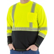 High Visibility Yellow Long Sleeve Shirt with Reflective Chainsaw Striping