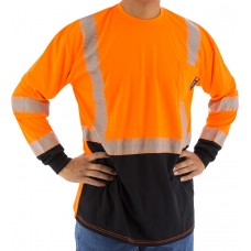 High Visibility Orange Long Sleeve Shirt with Reflective Chainsaw Striping