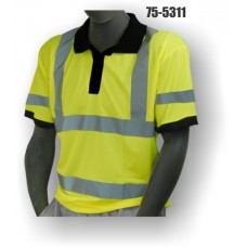 Hi-Vis Yellow Polo T-Shirt. Double Stripe. ANSI / ISEA 107-2010 Class 3 compliant. Material: 100% Polyester. Sizes: M-5X