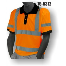 Hi-Vis Orange Polo T-Shirt. Double Stripe. ANSI / ISEA 107-2010 Class 3 compliant. Material: 100% Polyester. Sizes: M-5X
