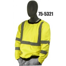 Crew neck sweatshirt, ribbed cuffs and waist, Yellow ANSI Class3