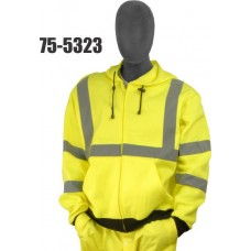 Sweatshirt with hood, high visibility yellow, ANSI Class 3