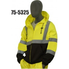 Sweatshirt with hood, high visibility yellow and black, ribbed cuffs and waist