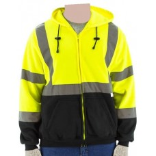 75-5325 High Visibility Yellow Class 3 Hooded Sweatshirt with Zipper Closure