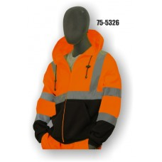 Hi-Vis Orange/Black Hoodie Sweatshirt, ANSI / ISEA 107-2010 Class 3 Compliant