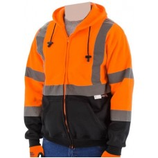 75-5326 High Visibility Orange Class 3 Hooded Sweatshirt with Zipper Closure