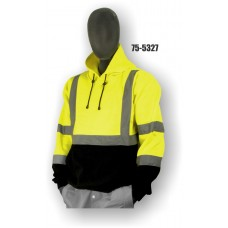 Sweatshirt with hood, high visibility yellow and black, ANSI Class 3