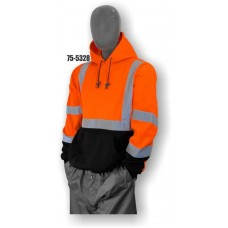 Sweatshirt with hood, high visibility orange and black, ANSI Class 3
