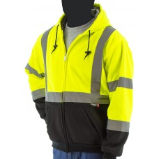 High visibility yellow/black heavy weight hooded zip-up sweatshirt, made with Teflon® fabric protector