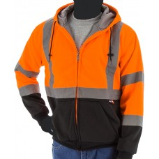 High visibility orange/black heavy weight hooded zip-up sweatshirt, made with Teflon® fabric protector