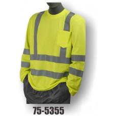 Hi-Vis Yellow Long Sleeve T-Shirt. Double Stripe. ANSI / ISEA 107-2010 Class 3 compliant