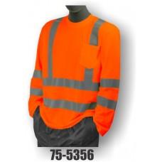 Hi-Vis Orange Long Sleeve T-Shirt. Double Stripe. ANSI / ISEA 107-2010 Class 3 compliant