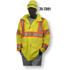 Hi-Vis PU Yellow Rain Jacket, w/ hood, Contrasting DOT Stripe, ANSI / ISEA 107-2010 Class 3 Compliant