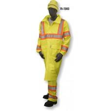 "Hi-Vis PU Yellow Rain 48"" Coat, w/ hood, Contrasting DOT Stripe, ANSI / ISEA 107-2010 Class 3 Compliant"