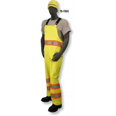Hi-Vis PU Yellow Rain Bib, Contrasting DOT Stripe, ANSI / ISEA 107-2010 Class E Compliant, Waterproof, Black