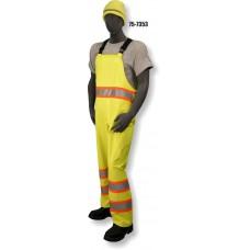 Hi-Vis PU Yellow Rain Bib, Contrasting DOT Stripe, ANSI / ISEA 107-2010 Class E Compliant, Waterproof, Black